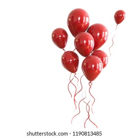 red baloons with red ribbons on right sight isolated on white background. 3D illustration of celebration, party baloons