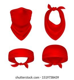 Red bandana. Cowboy or biker face scarf, bandanna neck shawl. Blank handkerchief unisex uniform. Western clothes isolated set