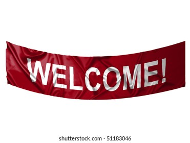 A red banner with white text saying Welcome