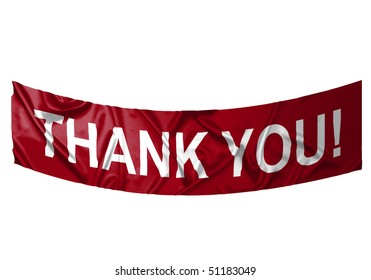 A red banner with white text saying Thank you