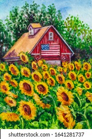 Red barn on the farm. American flag. A lot of sunflowers. Watercolor painting.
