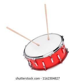 Red Bass Drum with Pair of Drum Sticks on a white background. 3d Rendering