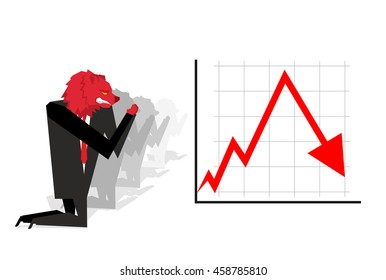 Red Bear prays for fall in rate of exchange. down arrow. Worship of money. Businessman Prayer quotes. Trader kneeling before schedule. Allegory illustration for magazine business. Financial idol