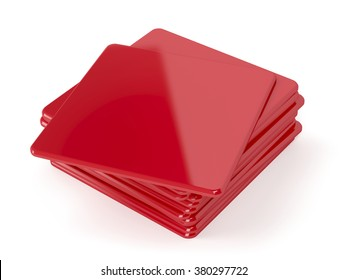 Red beermats on white background