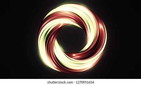 Red and beige coloured round spinning lollypop candy on black background, seamless loop. Abstract, rotating, sweet lollypop without stick on black background