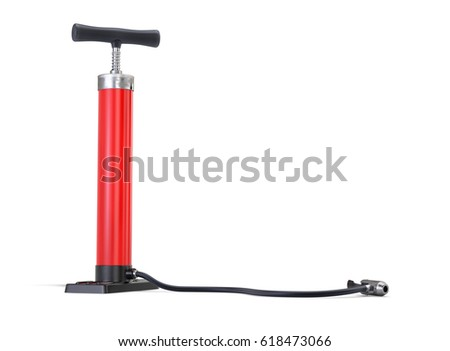 Red Bicycle Pump isolated on White Background. 3D illustration