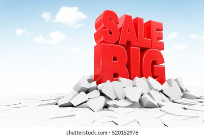 Red Big Sale Sign Breaking Through Ground. Big Discount Sale Concept. Abstract Background with place for Your Text. 3D Rendering