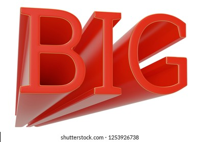 Red big text isolated on white background 3D illustration.