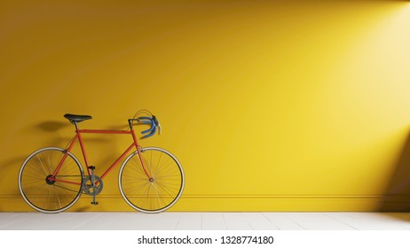 Red bike against the yellow wall. Vintage bike by the wall. 3d illustration