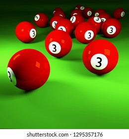 Red billiard balls number three on a billiard table