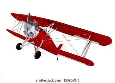 Red Biplane Airplane Isolated on White