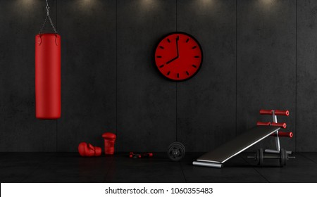 Red and black boxing gym with punching bag,boxing gloves and bench 3d rendering