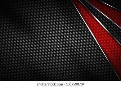 red and black carbon fiber and chromium frame. metal background. material design. 3d illustration.
