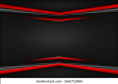red and black carbon fiber. two tone metal background and texture. 3d illustration design.