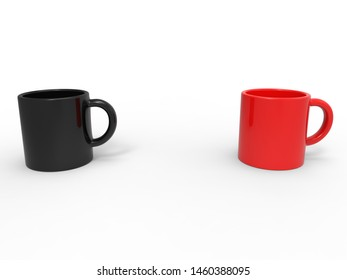 Red and black coffee mugs - 3D Illustration