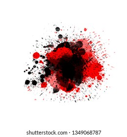 Red black color ink splash splatter isolated on white liquid spot design element