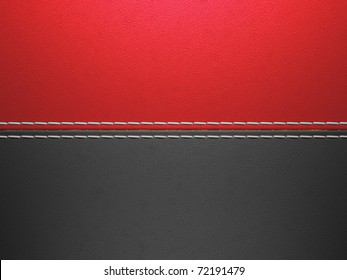 Red and black horizontal stitched leather background. Large resolution