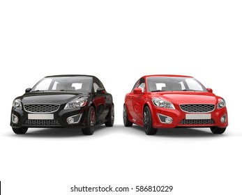 Red and black modern elegant family cars - front view - 3D Render
