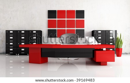 Superieur Red And Black Modern Office   Rendering