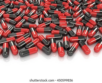 Red and black pills isolated white background. 3D illustration