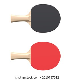 Red and black rackets for table tennis isolated on white background. Ping pong sports equipment. Minimal creative concept. 3d rendering illustration