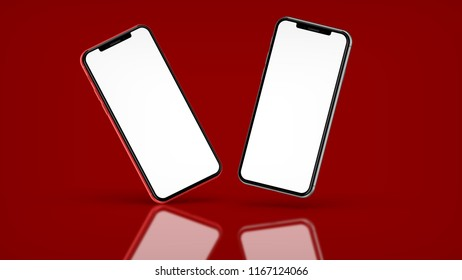 Red and black smartphones with blank screen, isolated on red background. High detailed. 3d illustration.