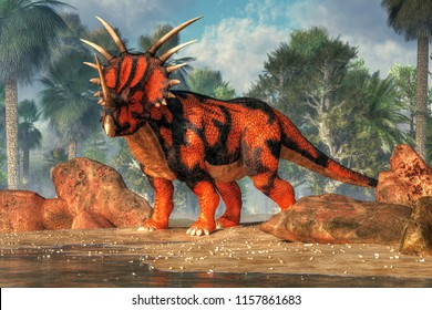 A red and black styracosaurus stands on the sandy shores of a cretaceous era lake.  This spiky dinosaur is posing just for you. 3D Rendering