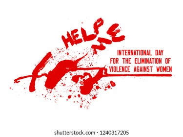 Red - black text and red Illustration, blood stains design for International Day for the Elimination of Violence against Women. On a white background