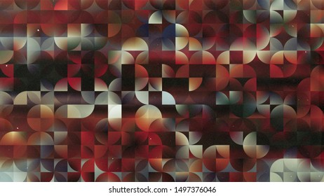 Red Black and White Abstract Quarter Circles Background