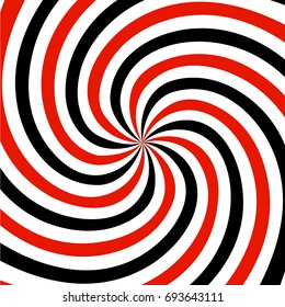 Red, black and white summer spiral ray pattern background