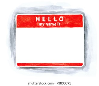 Red blank name tag sticker HELLO my name is with shadow on white background. Handmade watercolor technique