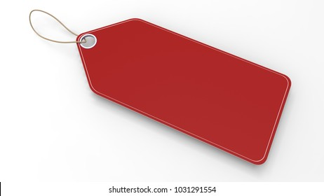 Red blank sale and price tag on white background. 3D illustration