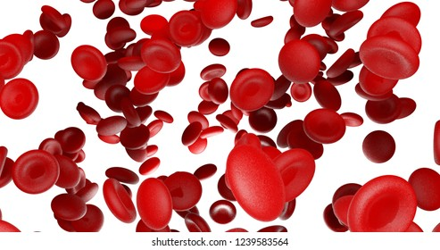 Red blood cells flow bottom lighting on white blackground 3d render isolate with clipping path