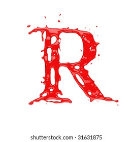 Red blood liquid alphabet - letter R. Isolated on white.