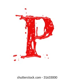 Red blood liquid alphabet - letter P. Isolated on white.