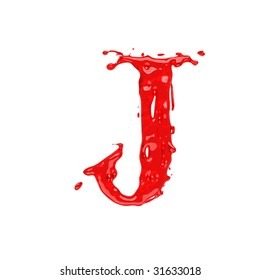 Red blood liquid alphabet - letter J. Isolated on white.
