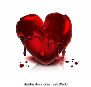 red bloody heart on a white background