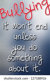 Red and blue anti-bullying poster
