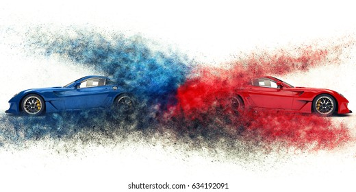 Red and blue awesome sports cars - particle explosion - 3D Illustration