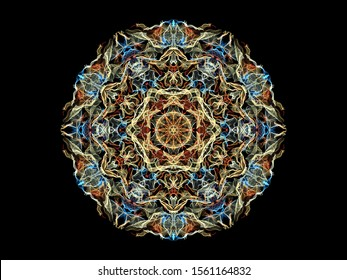 Red, blue and beige abstract flame mandala flower, ornamental floral round pattern on black background. Yoga theme.