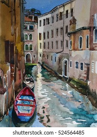 Red and blue boat in the canal of Venice, Italy, cityscape in old town in Canareggio with old buildings and reflections in the water