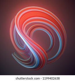 Red and blue colored abstract twisted shape. Computer generated geometric illustration. 3D rendering