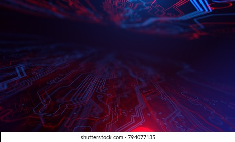 Red and Blue Digital Integrated Technology. Technological background. PCB. Printed circuit board. Computer motherboard. 3d illustration.