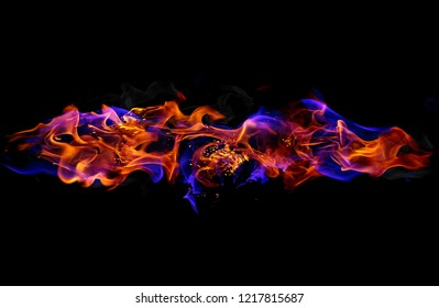 Red and blue fire flames on black background
