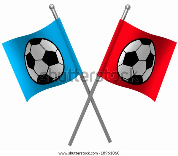red and blue flags for soccer (football) teams
