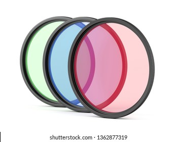Red, blue and green color photographic filters on white background, 3D illustration