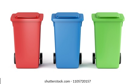 Red, blue and green plastic garbage bins on white background, 3D illustration