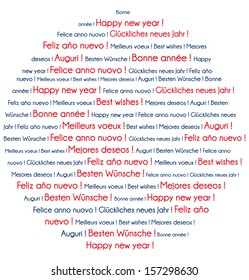 Red and blue Happy New Year in several languages. Word cloud greeting card.