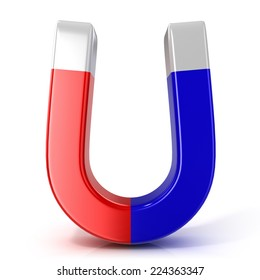 Red and blue horseshoe magnet isolated on white background. Front view