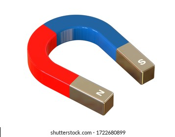 Red blue magnet isolated on white background. Horseshoe permanent magnet, isolated on white background. 3D illustration.